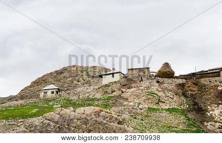 Mountain settlement, houses of inhabitants, Azerbaijan, Quba region poster