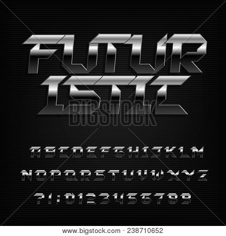 Futuristic Metal Alphabet Font. Chrome Beveled Letters And Numbers. Stock Vector Typeface For Your D