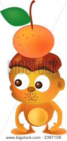 vector illustration for a monkey put a mandarin on its head poster
