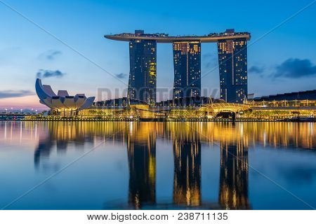 SINGAPORE CITY, SINGAPORE - APRIL 13, 2018: Marina Bay Sands at sunrise the largest hotel in Asia. It opened on 13 April 2010. Singapore on April 19, 2018