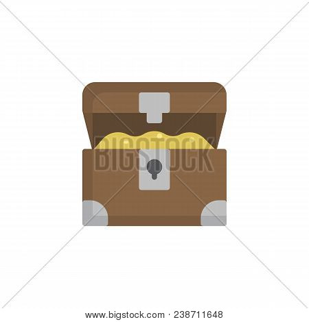 Opened Treasure Chest Flat Icon, Vector Sign, Colorful Pictogram Isolated On White. Pirates Chest Sy