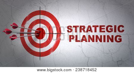 Success Finance Concept: Arrows Hitting The Center Of Target, Red Strategic Planning On Wall Backgro