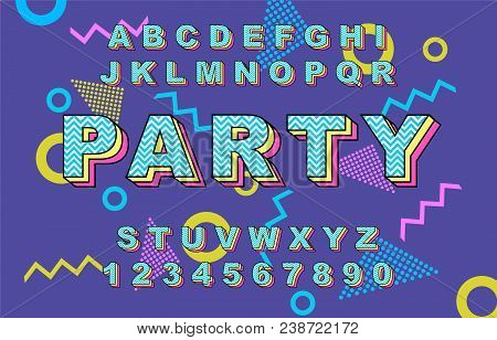 80 S Retro Alphabet Font. Vintage Alphabet Vector 80 S, 90 S Old Style Graphic Poster Set. Eighties