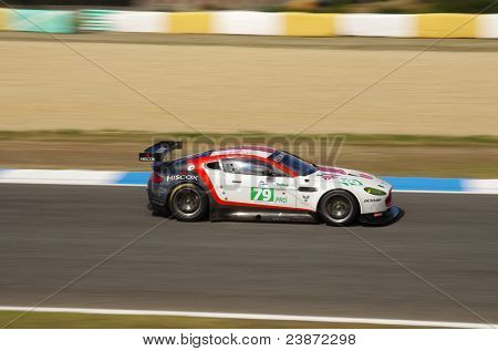 "ESTORIL - SEPT. 25: Aston Martin Vantage car of the British team Jota Sport piloted by Sam Hancock in the LMS race ""6 Hours Of Estoril"" on September 25, 2011, Estoril circuit, Portugal"