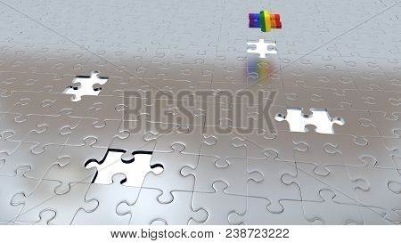3d Illustration Of Four White Holes In Puzzle Pieces Floor With One Rainbow Piece Above All Other Gr