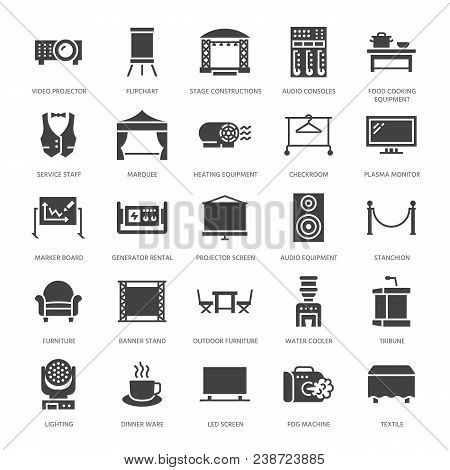 Event Supplies Flat Glyph Icons. Party Equipment - Stage Constructions, Visual Projector, Stanchion,