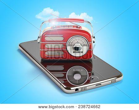 Smartphone with red vintage radio. Mobile AM FM radio live streaming media concept. 3d illustration