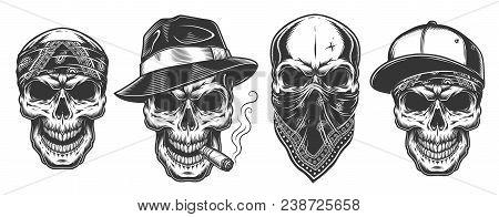 Skulls In Monochrome Vintage Style, Gangsters And Mafia Set. Vector Illustration.
