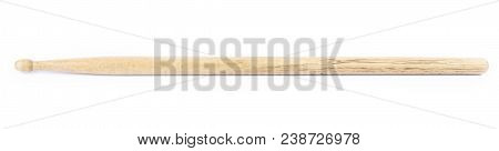 one wooden drumstick on a white background isolate poster