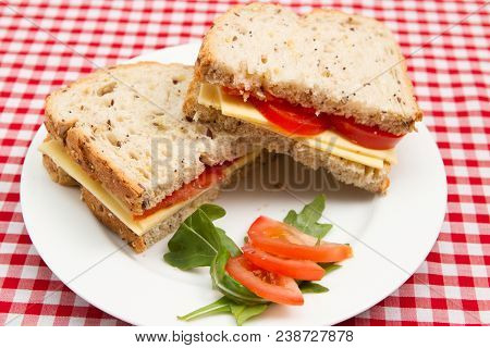 Vegan Cheese And Tomato Sandwiches A Plate Of Cheese And Tomato Vegan Sandwiches