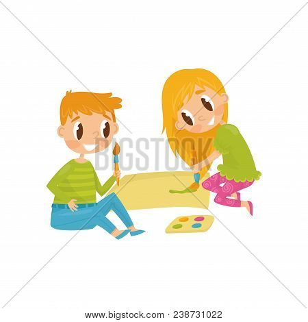 Cheerful Children Drawing Picture. Tools For Painting Paper, Brushes And Paints. Cartoon Kids Charac