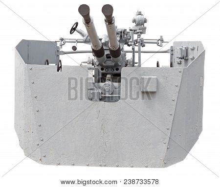Naval Gun. World War Ii. Isolated On White, With Clipping Path.