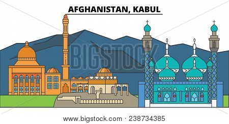 Afghanistan, Kabul. City Skyline, Architecture, Buildings, Streets, Silhouette, Landscape, Panorama,