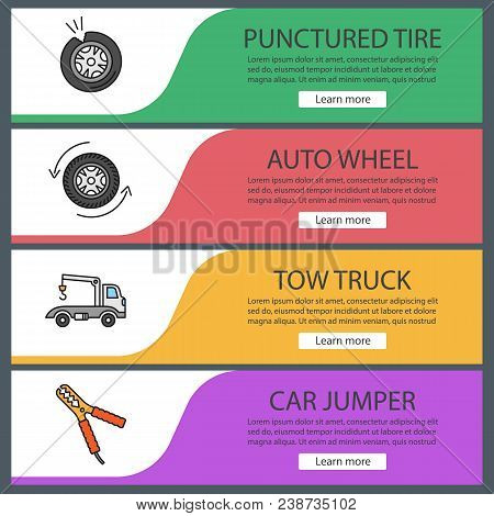 Auto workshop web banner templates set. Website color menu items. Punctured tire, auto wheel, tow ruck, car jumper. Vector headers design concepts poster