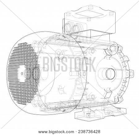 Electric Motor Outline. Vector Rendering Of 3d. Wire-frame Style. The Layers Of Visible And Invisibl