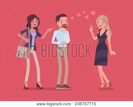 Girlfriend Feeling Jealous. Woman Crazy About Boyfriend Talking To Other Girl, Suffering From Obsess