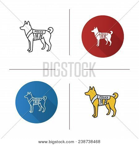 K9 Police Dog Icon. Flat Design, Linear And Color Styles. German Shepherd. Military Dog Breed. Isola