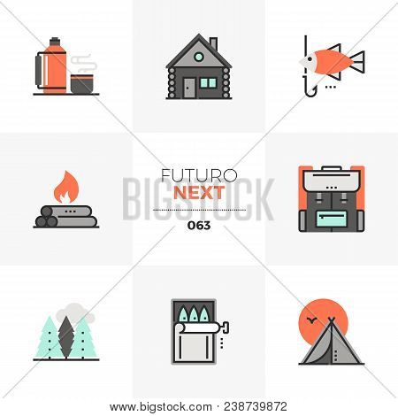 Modern Flat Icons Set Of Camping Fire Place, Outdoor Nature Trip. Unique Color Flat Graphics Element