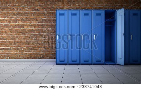 Empty Locker Room Interior. 3d Rendering Background