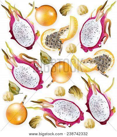 Tropic Fruits Pattern Vector Realistic. Dragon Fruit, Granadilla, Physalis