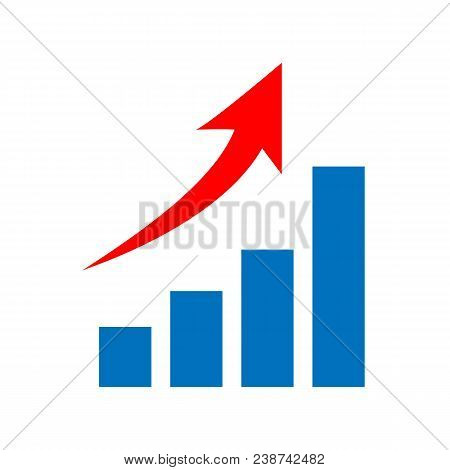 Vector Graph Growth, Up Arrow Symbol - Business Success Concept Illustration, Chart Icon