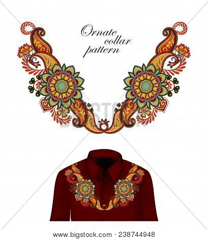 Vector Design For Collar Shirts, Shirts, Blouses. Colorful Ethnic Flowers Neck. Paisley Decorative B