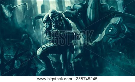 Commando in armor suit with large rifle fighting. Science fiction illustration. Special forces. Original character the soldier of the future. Freehand digital drawing. poster