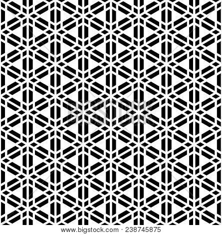 Seamless geometric pattern based on Kumiko ornament of triangles and trapezoids. poster