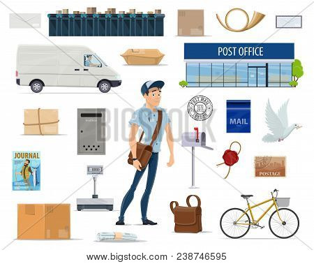 Postal Delivery Service Cartoon Set With Postman And Post Icon. Post Office, Mailman, Letter And Mai