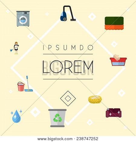 Set Of Hygiene Icons Flat Style Symbols With Bucket With Besom, Sponge, Hand Wash Icons For Your Web