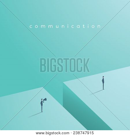 Business Communication Vector Concept With One Businessman Shouting At Another Over Megaphone. Eps10