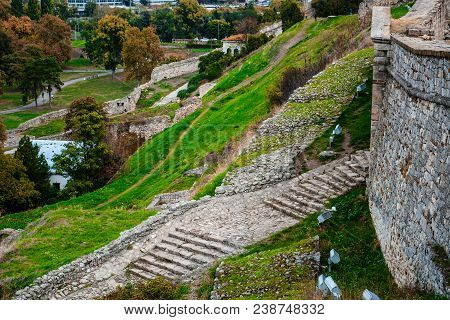 Kalemegdan Fortress - Architecture Travel Background. Belgrade Fortress Consists Of The Old Citadel