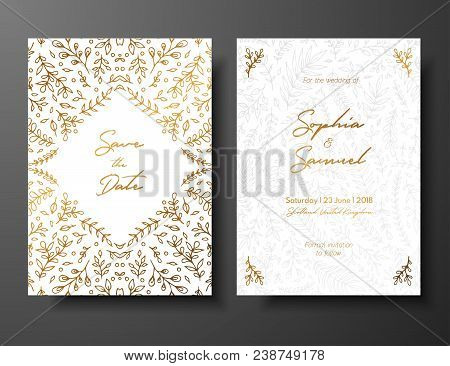 Wedding Vintage Invitation, Save The Date Card With Golden Twigs And Flowers. Cover Design With Gold