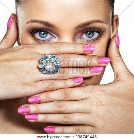 Portrait of beautiful woman with ring