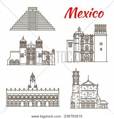 Travel Landmark Of Mexico And Ancient Mesoamerica Icon. Sacromonte Church, Aztec Pyramid Of Chichen