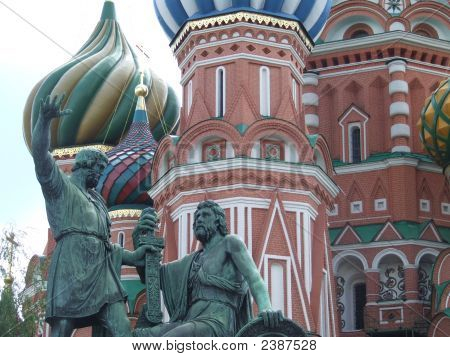 Statue In Front Of St Basil'S Cathedral In The Red Square, Moscow, Russia