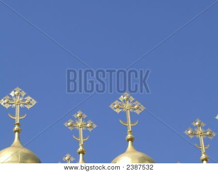 Four Golden Crosses On Domes In The Kremlin, Moscow, Russia