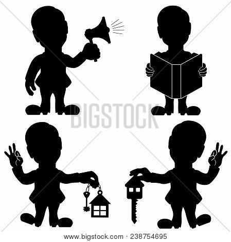 Silhouette Set Of Four Man Various Situations, Conceptual Cartoon Black Stencil Vector Illustration