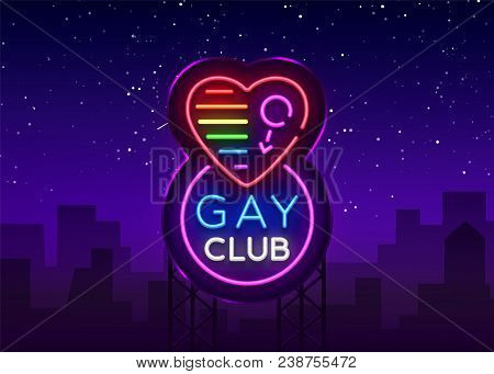 Gay Club Neon Sign. Logo In Neon Style, Light Banner, Billboard, Night Bright Advertising For Gay Cl