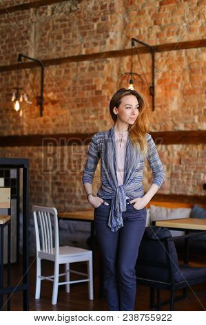 Ladies Went To Coffee House, Smiling Fair-haired Girl With Black Scrunchy On Hand Wearing Stay Near
