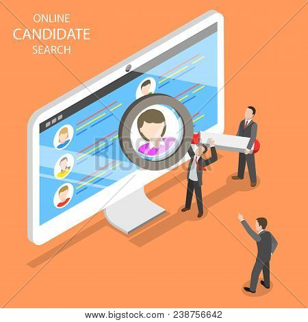 Online Candidate Search Flat Isometric Vector. Group Of Hr Managers Are Looking For An New Employee.