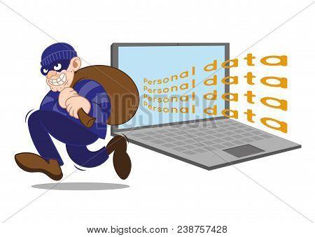 Cartoon Character Dangerous Criminal Insidious Thief Hacker Dressed In Dark Mask Running Big Bag Sto