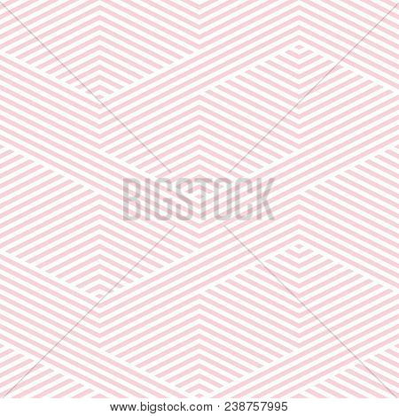Vector Geometric Lines Pattern. Pink And White Abstract Graphic Striped Ornament. Simple Geometry, S