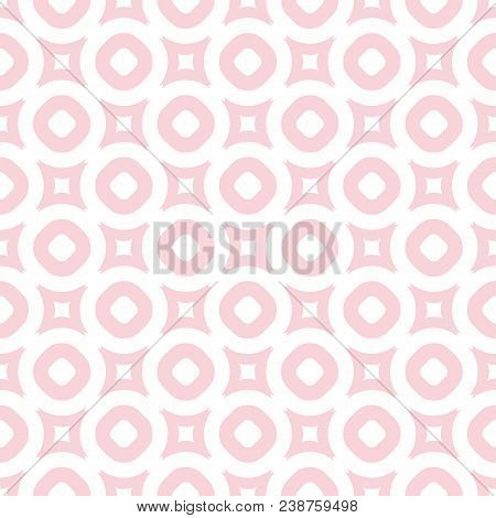 Cute Vintage Seamless Pattern In Trendy Pastel Colors, Light Pink And White. Abstract Background Wit