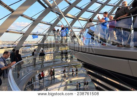 Berlin, Germany - August 27, 2014: People Visit Reichstag Building Dome In Berlin. The Dome Was Comp