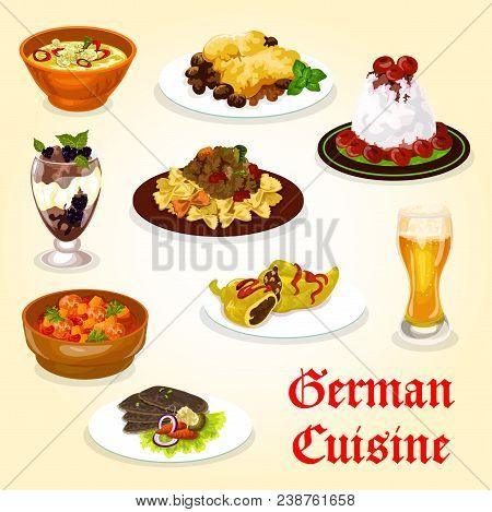 German Cuisine Dinner With Meat Dish And Dessert. Cream Sauce Meat With Pasta, Stuffed Pepper And Po