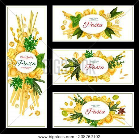 Pasta With Spice And Olives Banner Of Italian Food. Spaghetti, Macaroni And Ravioli Pasta Shapes, Pe