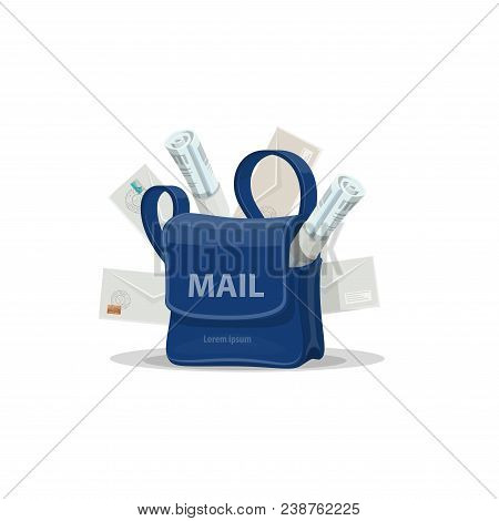 Mailbag Of Postman With Mail Cartoon Icon. Blue Bag Of Mailman With Letter Envelope, Newspaper, Maga