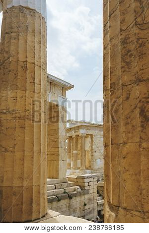 Greece, Athens, April 2018. Architecture Of Ancient Greece. Marble Columns Of Ancient Temples. Ruins