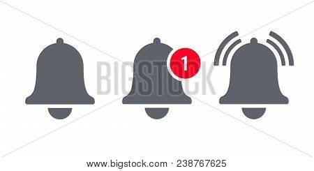 Notification Bell Icon For Incoming Inbox Message. Vector Ringing Bell And Notification Number Sign